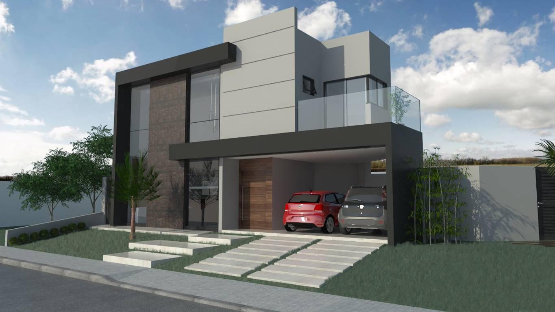 Projeto de uma casa moderna com varanda.