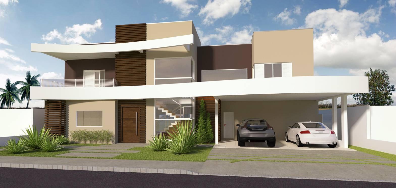 Este projeto conta com curvas em sua fachada para trazer mais movimento a casa.
