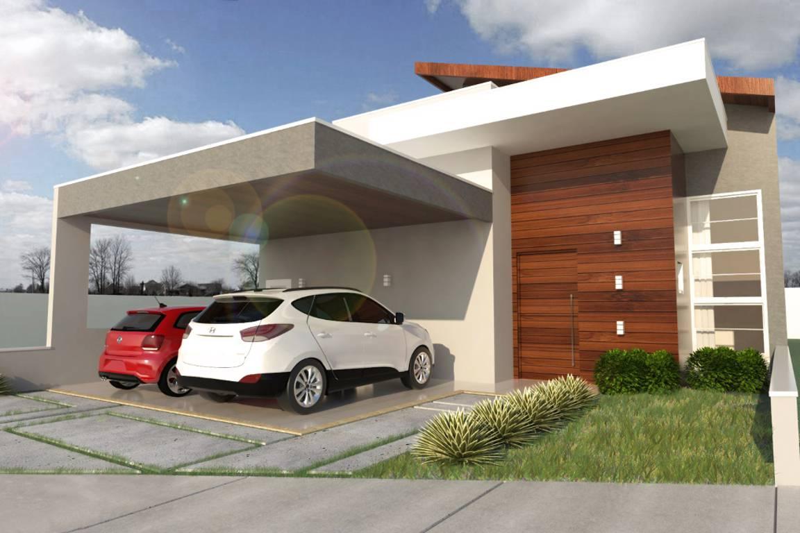 Toda a praticidade de uma casa térrea com o design de um telhado recortado e bem desenhado.