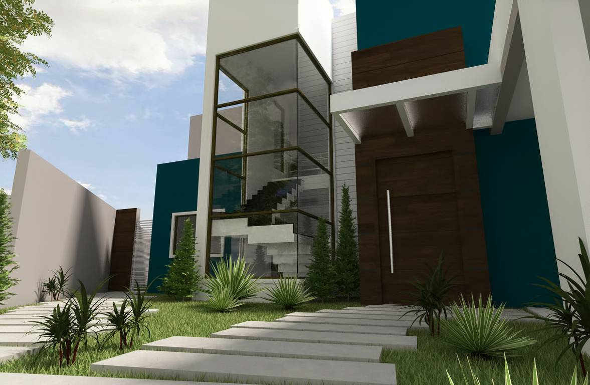 Projeto de uma casa moderna de espaços amplos.